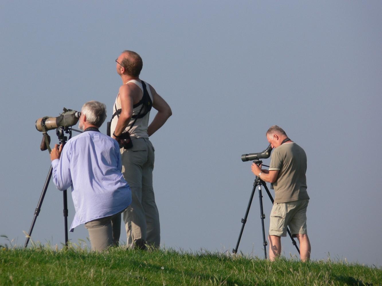 Vogelaars met verrekijker op de dijk VVV Texel fotograaf Jacob van Kraaikamp