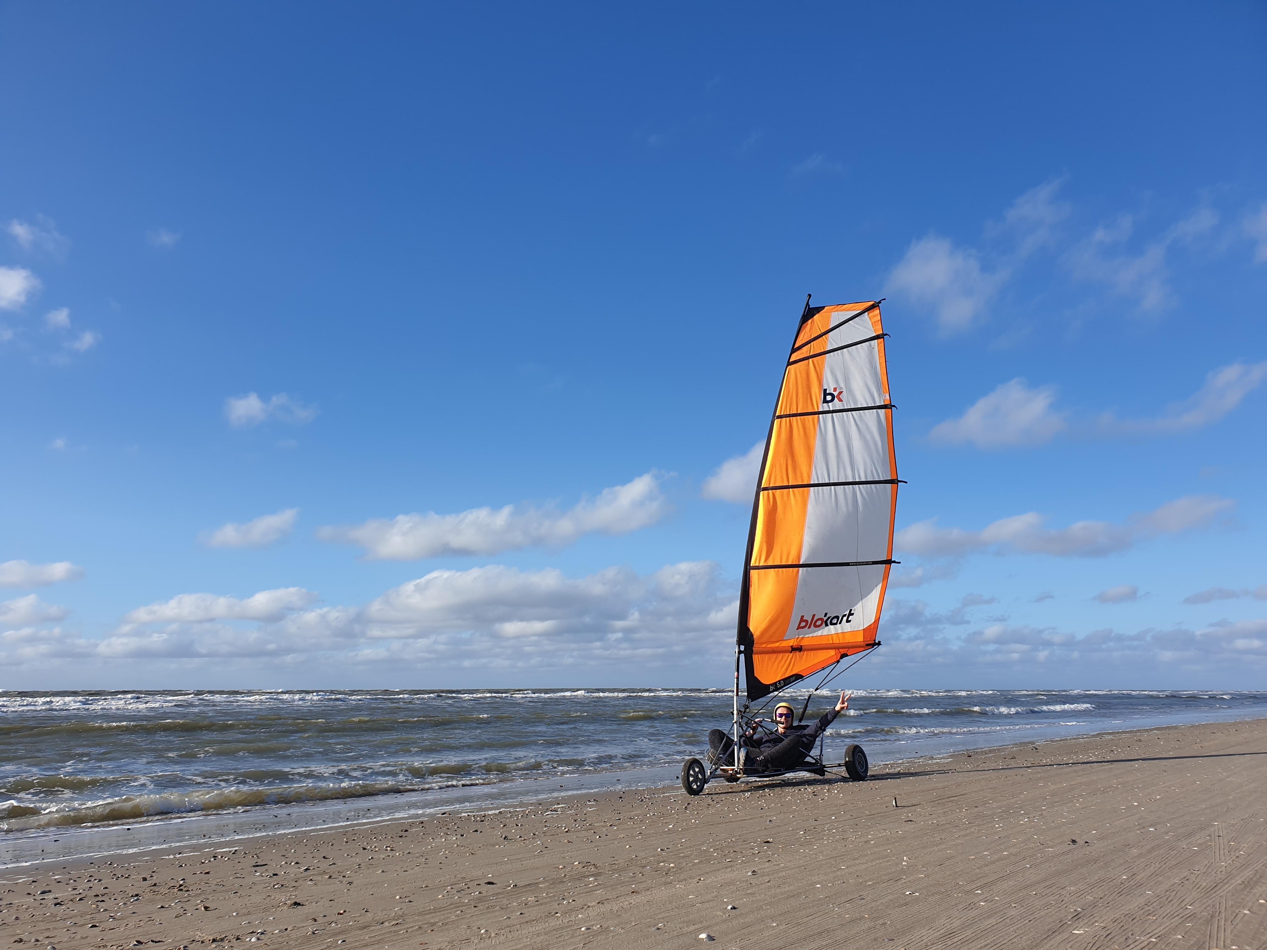 Blokart op het strand bij het water VVV Texel Texel Active
