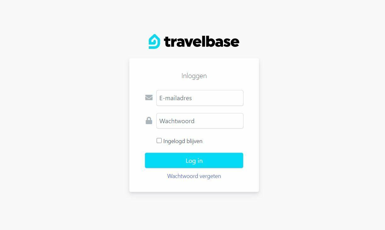 Travelbase inlogscherm VVV Texel
