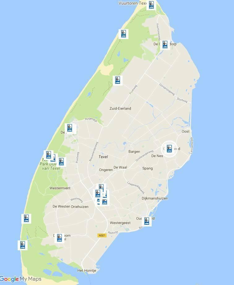 Kaartje Openbare laadpalen op Texel VVV Texel